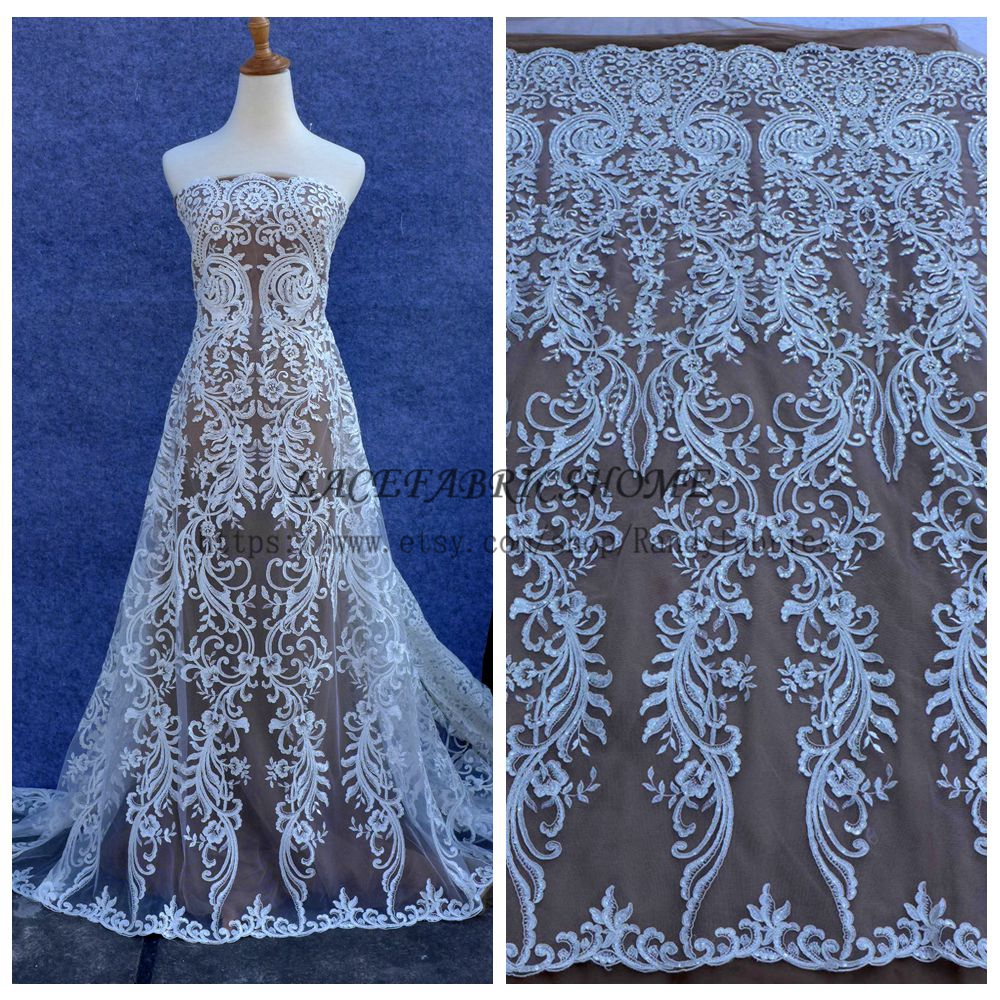 La Belleza Fashion style pattern Off whtie cord sequins on net wedding dress lace fabric 51