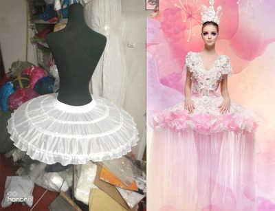 JIERUIZE Ball ชุดบัลเล่ต์กระโปรงสั้นชุดคอสเพลย์ Petticoat กระดูกสาม Puffy Lolita Petticoat Rockabilly Crinoline