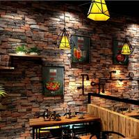 3D retro waterproof brick pattern wallpaper 3D stone brick wallpaper Living room bedroom background wallpaper roll