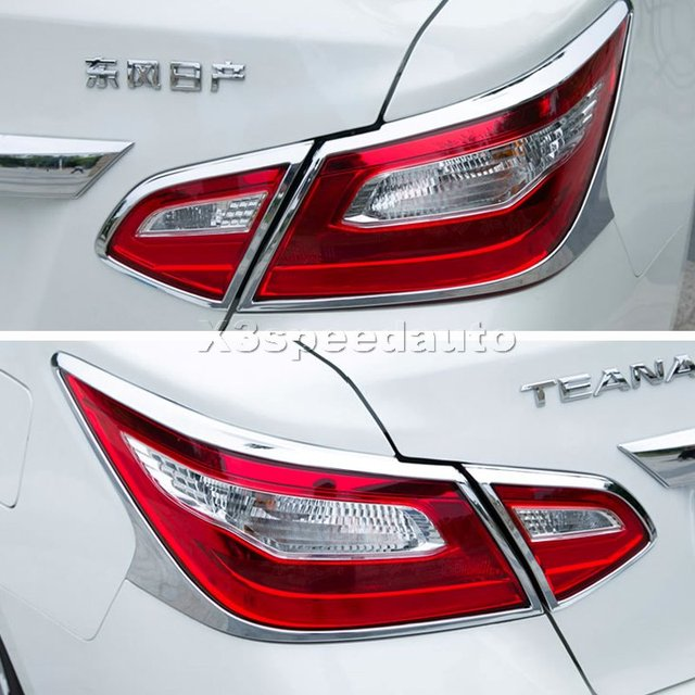 For Nissan Teana Altima 2016 2017 Car Styling Chrome Rear Tail Light Lamp Cover Trim 4pcs