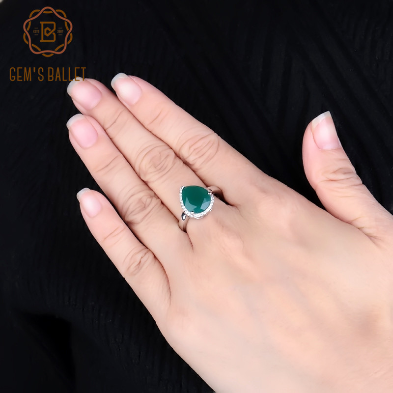 Gem's Ballet Natural Green Agate Gemstone Water Drop Rings For Women 925 Sterling Silver Wedding Ring Fine Jewelry