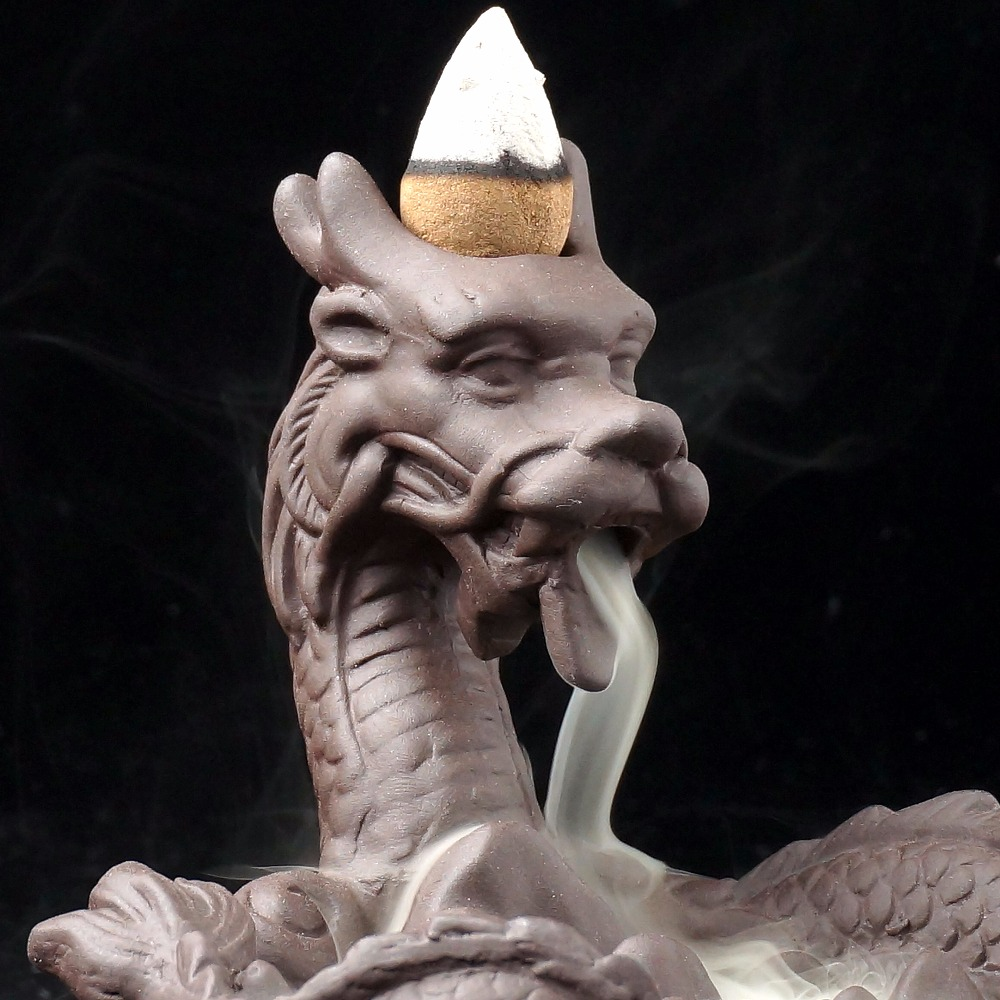 Dragon incense burner Statue Backflow burner sandalwood incense base home decor in Incense Incense Burners from Home Garden