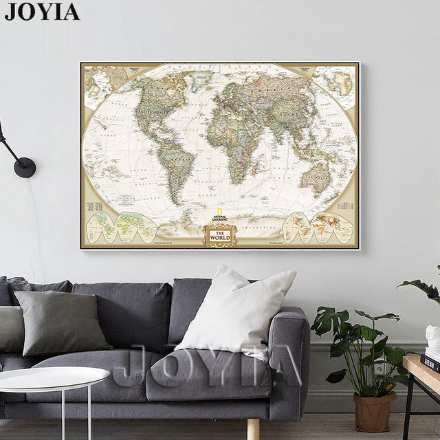 World Map Painting Canvas Prints Large Wall Art Europe Vintage Earth     World Map Painting Canvas Prints Large Wall Art Europe Vintage Earth Maps  Picture Poster Living Room