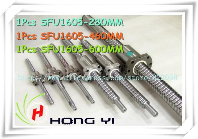SFU1605 ball screw  L=280mm/460mm/600mm + 3pcs Ballscrew ball nut for CNC and BK/BF12 standard processing 3 linear rail hb20 300 600 1000mm sets 3 ball screws rm1605 300 600 1000 3bk bf12 3 nut housing 3 rb couplers for cnc