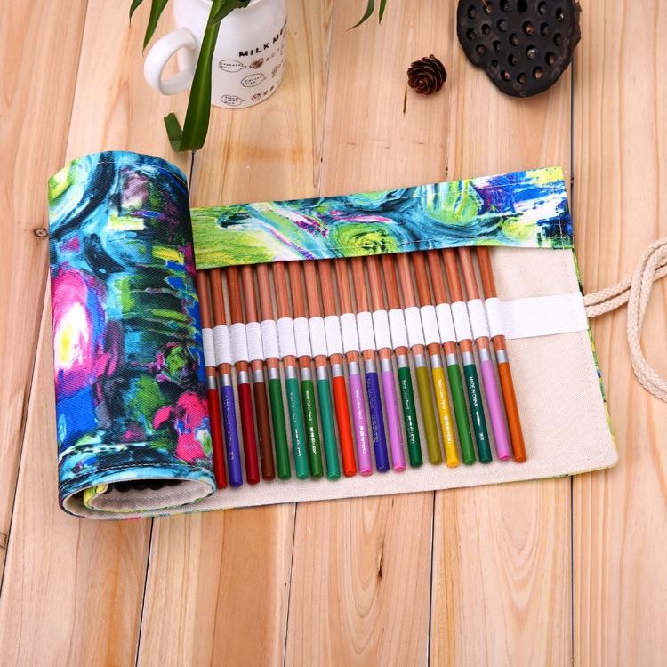 Pencil Case School Canvas Roll Pouch Makeup Comestic Brush Pen planting pecncil box pencil case for school girls 36/48/72 Holes