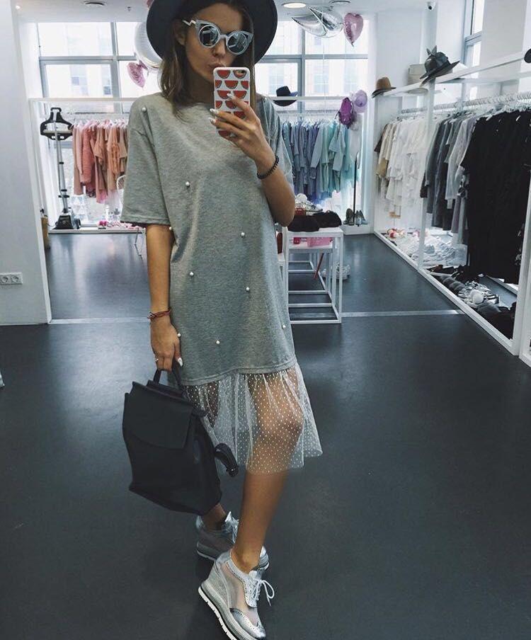 Industrious 2018 Women Fashion Women Network Yarn Short-sleeved T-shirt Beaded Gauze Summer Casual Loose And Dress Hem Net Yarn Splice We Have Won Praise From Customers
