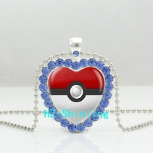 New Pokemon Heart Necklace Pokeball Crystal Pendant Glass Anime Jewelry Heart Shaped Necklace Ball Chain