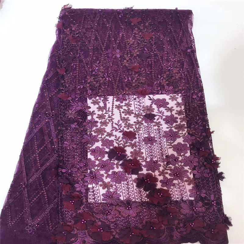 High Quality Burgundy Nigeria Mesh Lac High Quality French Lace Beaded African Fabric Lace 3d Tulle Lace Fabric for Party X1476