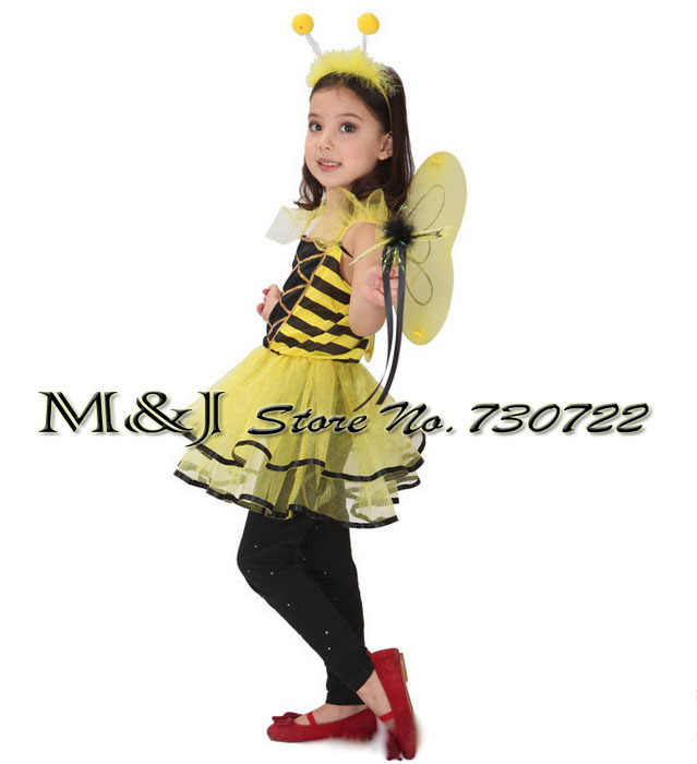 6ec5327589fc9 Free shipping!!Bee female children suit Halloween Cosplay costume  kindergarten stage performance clothing