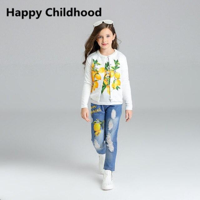 Autumn Fashion Autumn Lemon Pattern Girls Clothes 3pcs Kids Clothes Children clothing sets 2016 tracksuit for girls jacket
