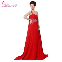 Alexzendra A Line Red Chiffon Long Prom Dresses with Shawl Pleats Beads One Shoulder Evening Gowns Party Dress Plus Size