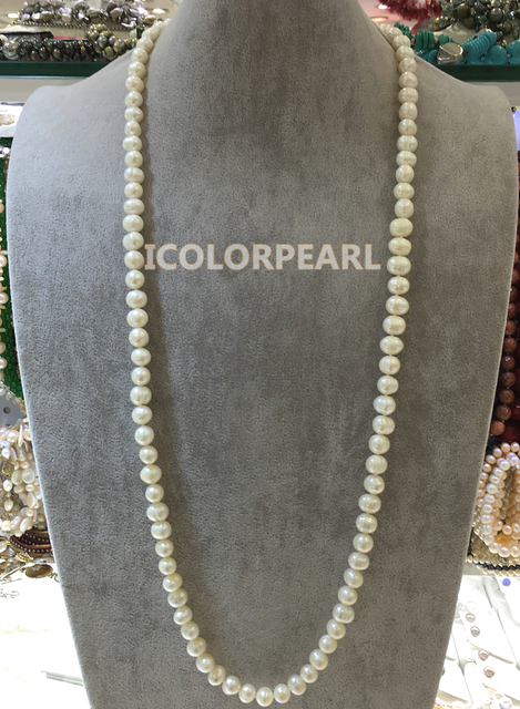 90cm  9-10mm Potato Shaped White Real Natural Cultured Freshwater Pearl Jewelry Sweater Necklace.