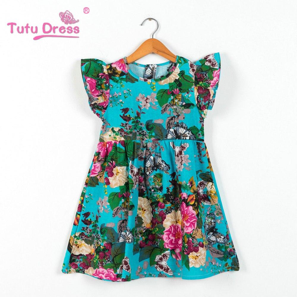 2018 Summer Girls Dress Floral Print Princess Dresses For Baby Girls ...
