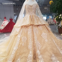 LS15400 royal golden party dress off shoulder lace up evening dress with heavy flowers and peplum 2018 china online wholesale