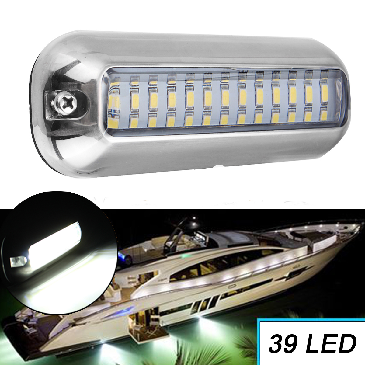 1pc Universal 39 Led Underwater Pontoon Boat Transom Fishing Lights Lamp Bulb Boat Transom Light Cover Waterproof High Intensity Boat Parts & Accessories