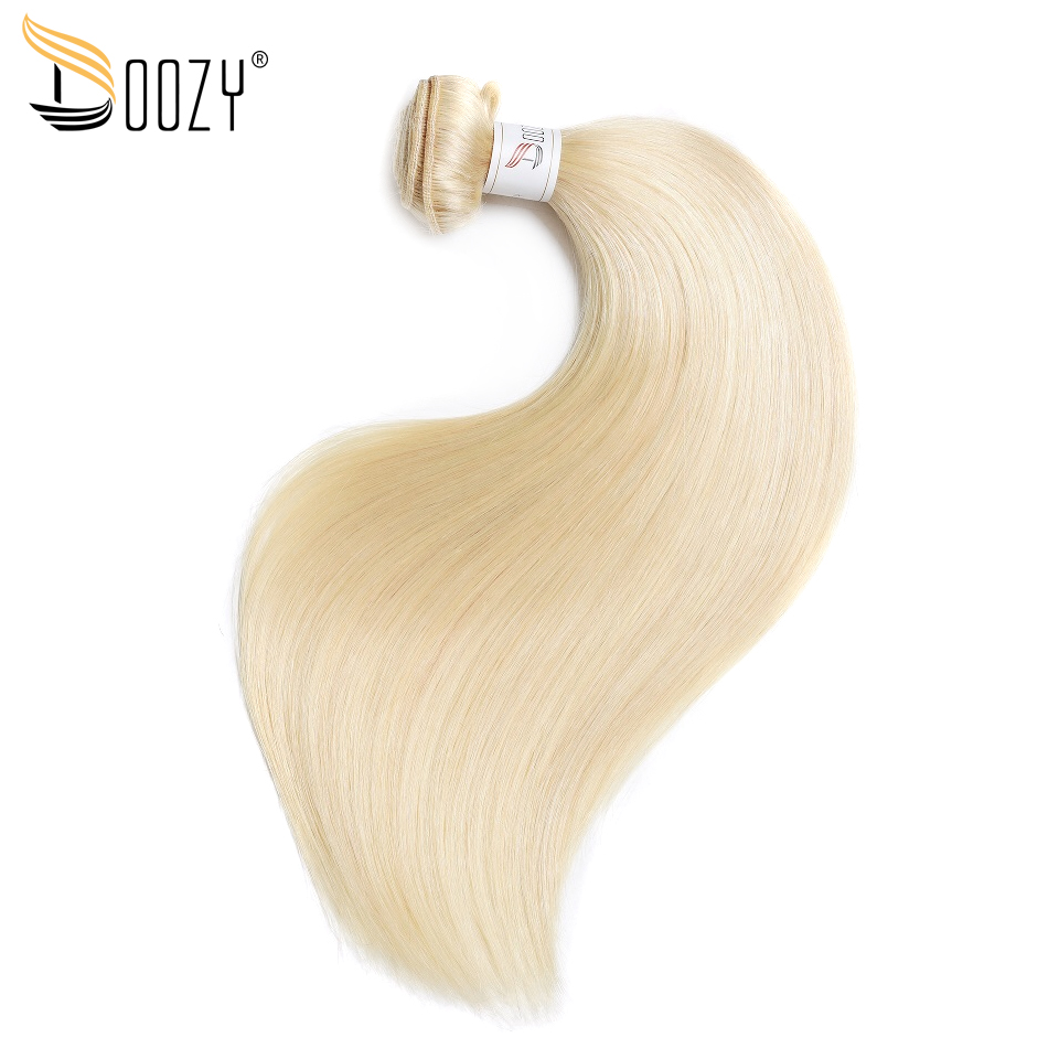 Doozy color 613 russian blonde Brazilian human hair bundles double weft non remy straight hair weaving
