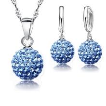 Купить с кэшбэком YAAMELI 925 Silver Jewelry Sets Rhinstone CZ Crystal Disco Ball Pendant Necklace Earrings For Women Gift Wedding  Accessories