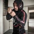 Новое Прибытие высшим костюм борьба куртка с капюшоном высокое качество Черный Размер M-XXL с капюшоном упругой толстовка slim fit