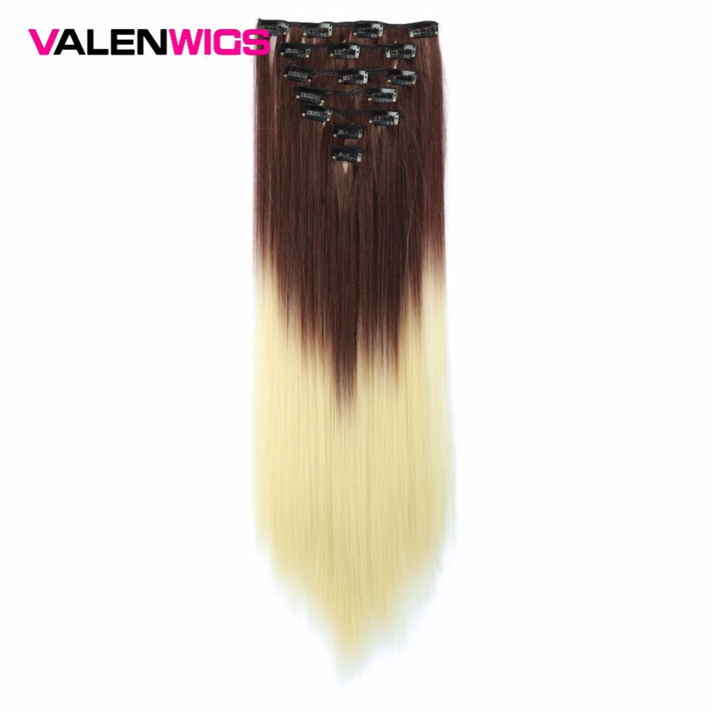 ValenWigs Seven Pieces 22 Inch Long Light Brown Hair Omber Color Wigs Synthetic Fake False Hairpieces Clip In On Extensions