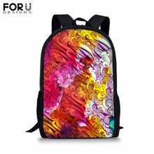 FORUDESIGNS Customize Picture Backpack for Teenager Girls Boy Color Collision School Bag Childrens BookBag Student Mochila