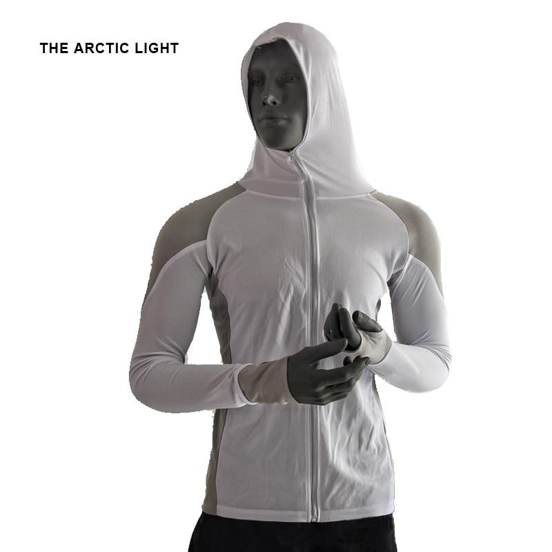 THE ARCTIC LIGHT Shirts Fishing Clothing Breathable Sunscreen Shirt Men Quick Drying UPF 50+ Long Sleeve Hooded Fishing Shirts
