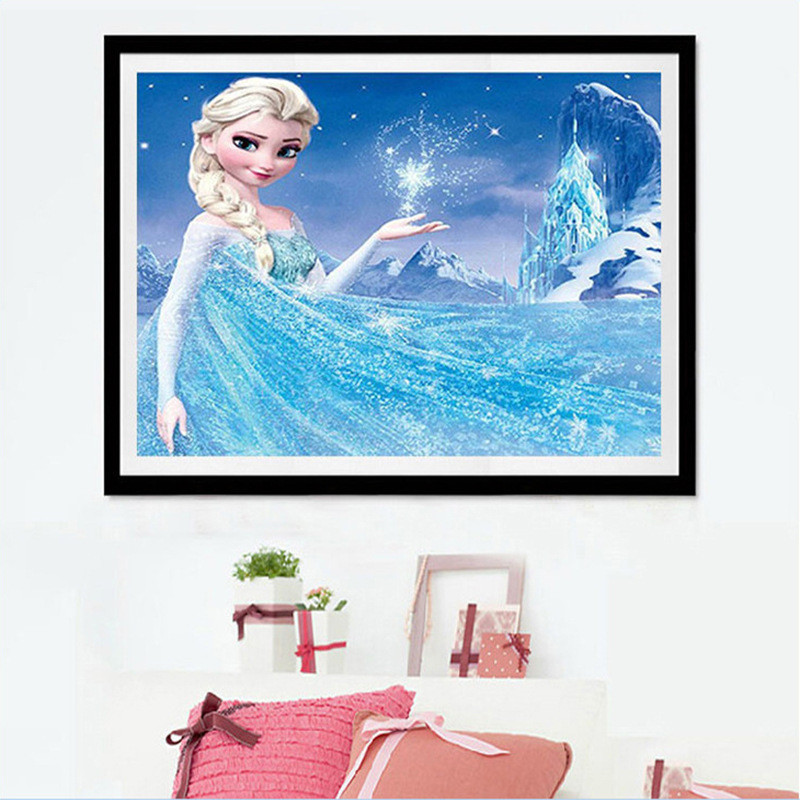 5D Diamond Drawing  Cartoon Full Drill Elsa Princess Diamond Picture  Children Point Drill  Round Bur|Diamond Painting Cross Stitch| |  - title=