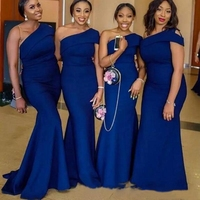 Blue Bridesmaid Dresses 2019 Mermaid Prom Dress Formal Party Gown Floor Length One Shoulder Bridesmaid Gown