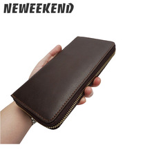 Genuine Leather Mens Fashion Clutch Bag Long Big Capacity Wallet Zipper Money Note Purse Pouch For Man Male YD08806