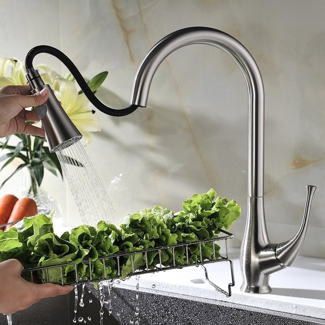 Single Lever High Arc Pull Down Kitchen Faucet Brushed Stainless