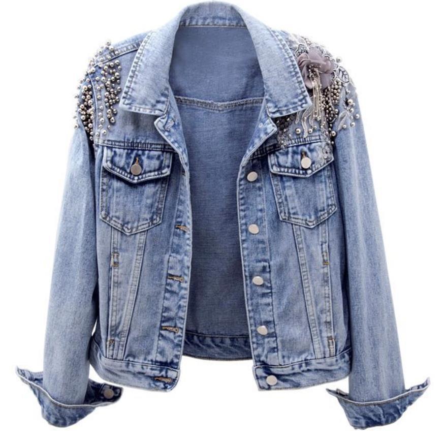 2019 printemps nouvelle mode perlée broderie slim denim veste à manches longues court jeans manteau femmes