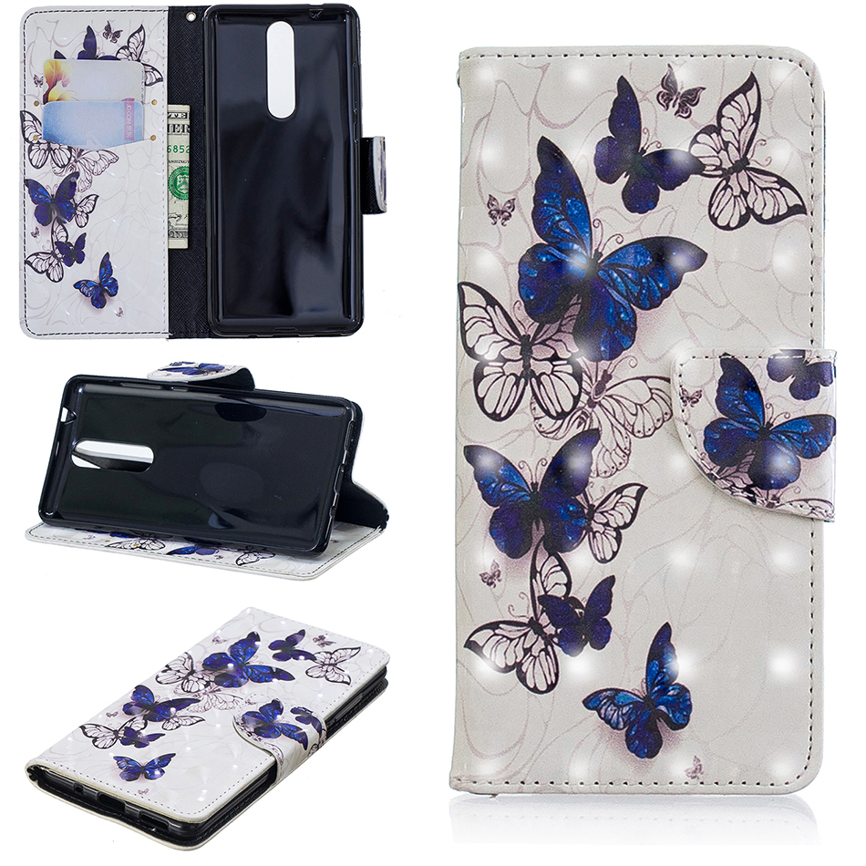 Leather Flip Case For <font><b>Nokia</b></font> 5.1 2018 Cover 3D effect Elephant Butterfly Wallet Cases For <font><b>Nokia</b></font> 3.1 2.1 2018 Phone Bag <font><b>Funda</b></font> B116 image