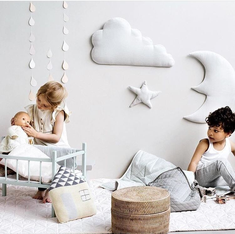 One Set Ins Style Moon Cloud Star Kids Play Tent Decoration Tent Props Baby Bed Room Hanging Decor Wall Stickers
