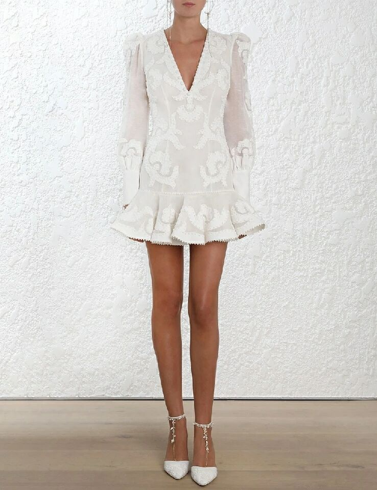 Date 2018 Designer piste bohème robe femmes à manches longues col en v dos nu broderie sirène Blusa Feminina Renda robe - 4
