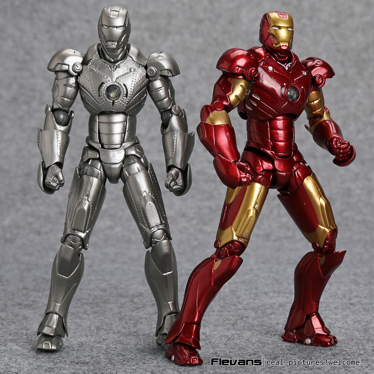 SCI-FI Revoltech Series NO.036 Iron Man Mark III MK3 NO.035 Mark 2 Mark II PVC Action Figure Collectible Model Toy HRFG500 series no 001 revoltech deadpool venom no 003 spider manno 002 004 iron man with bracket pvc action figure collectible model toy