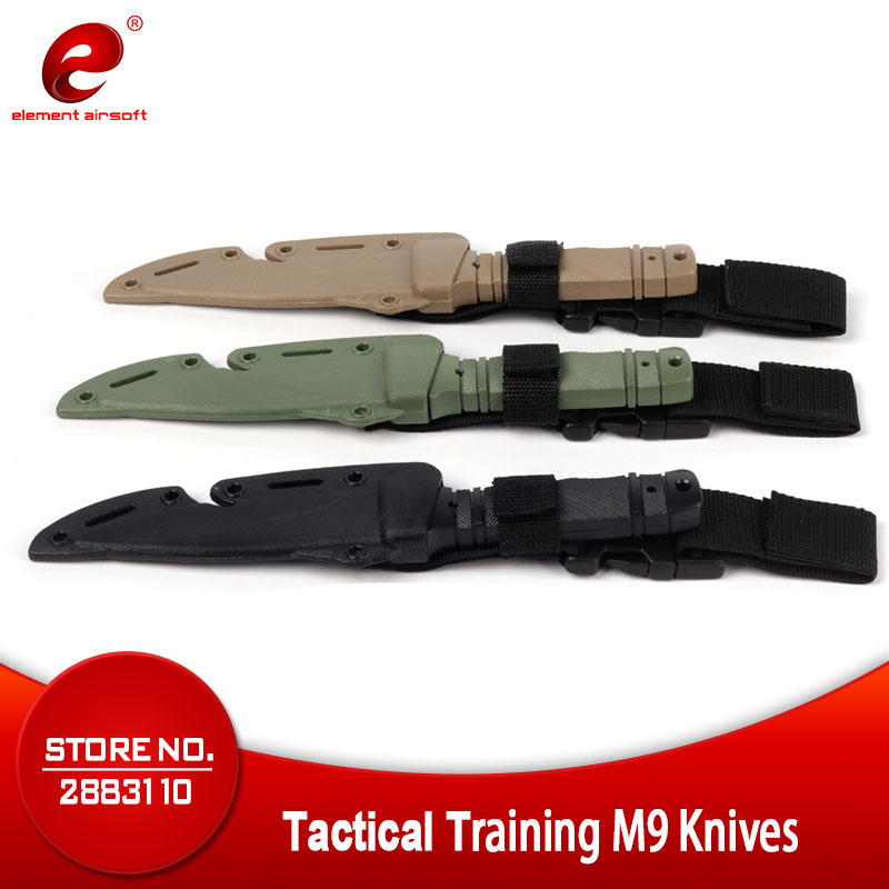 Element Airsoft Army M9 Tactical Training Dagger CS Cosplay Plastics Knife War Prop Halloween Gift Decoration Rubber Bayonet