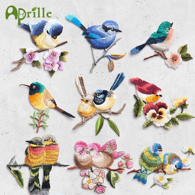 Bordado Aves con flor Parches Bordado hierro en Insignias para ropa ...