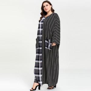 Image 3 - Женское клетчатое платье с карманом в полоску, длинное платье в мусульманском стиле с карманом абайя, Размеры M  4XL