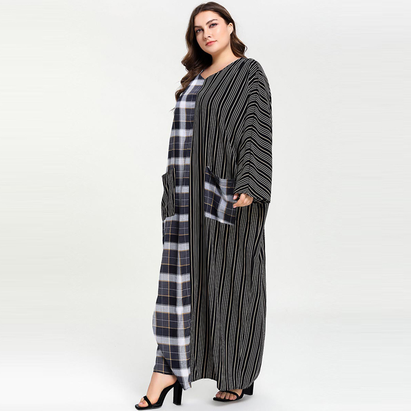 Image 3 - Plus Size Women Plaid Patchwork Striped Pocket Abaya Muslim Dress