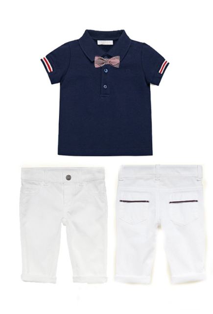 Causal Summer Boys Sets Bow Tie T-shirt with White Pant Toddler Boy Clothing