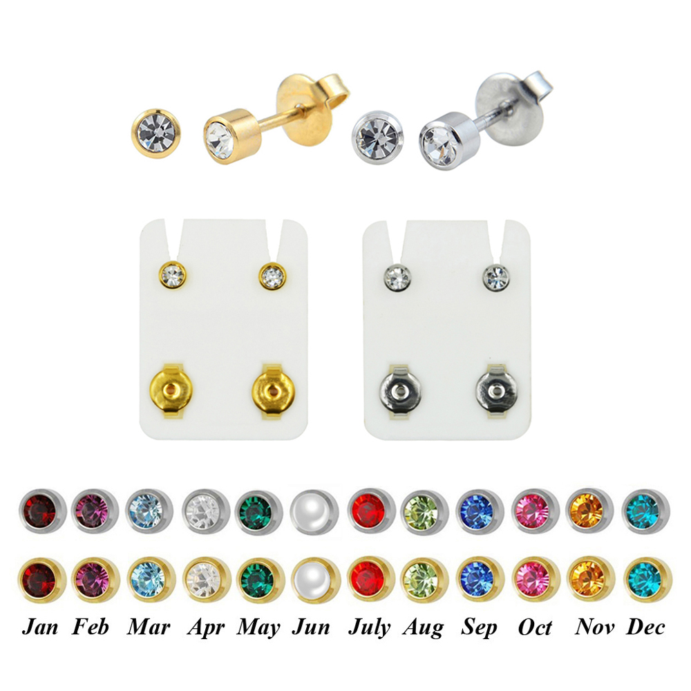 Stud-Earring Studs Jewelry Crystal Birthstone Ear-Piercing Stainless-Steel Helix Cartilage