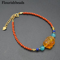 Natural Gemstone beads South Red Agate Amber Luck Pixiu Money Charm Bracelet Chinese Style