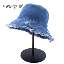 7ccd0c3b 2019 Summer Washed Denim Wide Brim Foldable Sun Hat Men Women Tassel Bucket  Hats
