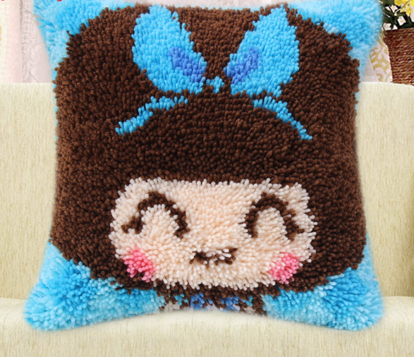 020884 Line has been cut, coarse pillow show stereo cross-stitch pillows cute baby blue free shipping