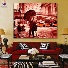 DIY colorings pictures by numbers with colors Kiss under the umbrella picture drawing painting by numbers framed Home(China)