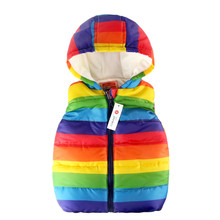 цена на Rainbow Child Waistcoat Children Outerwear Winter Coats Kids Clothes Warm Hooded Cotton Baby Girls Boys Vest For 2-7 Years Old