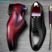 2019 New Spring Oxford Dress Shoes For Men Cow Genuine Leather Shoes Male Luxury Italian Wedding Office Formal Shoes