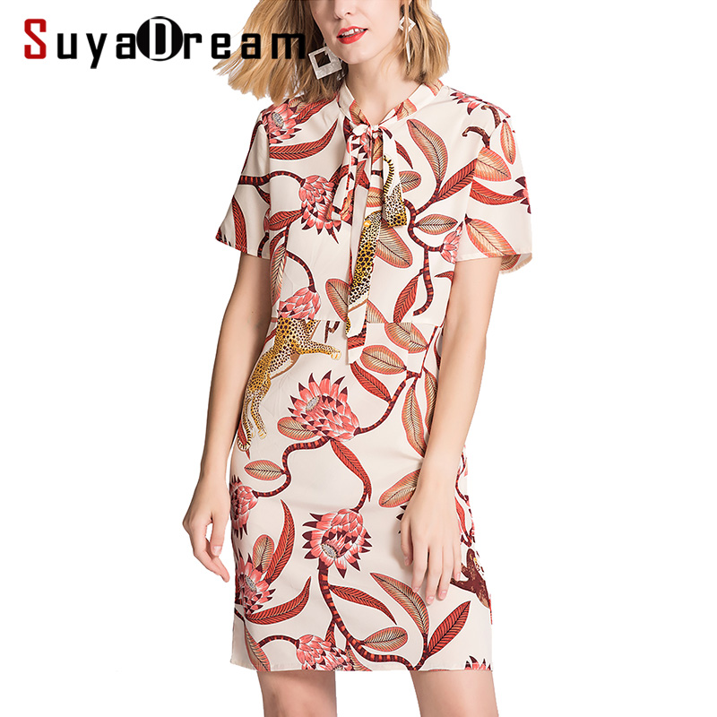 Women Printed Mini Dress 100% REAL SILK CREPE Dresses for Women 2019 Summer Bow Collar Short Sleeved Dress-in Dresses from Women's Clothing    1