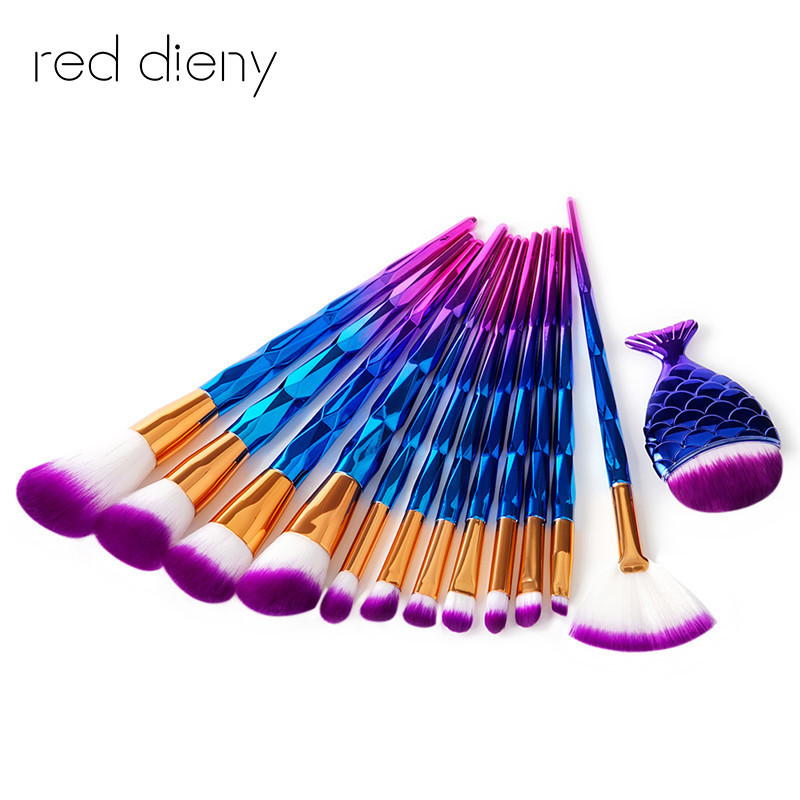 13 pc Maquiagem blue Makeup Brush Set Yellow Hair Powder Eyeshadow Foundation Cosmetic Brush Dimond Rose Handle Make-up Brush