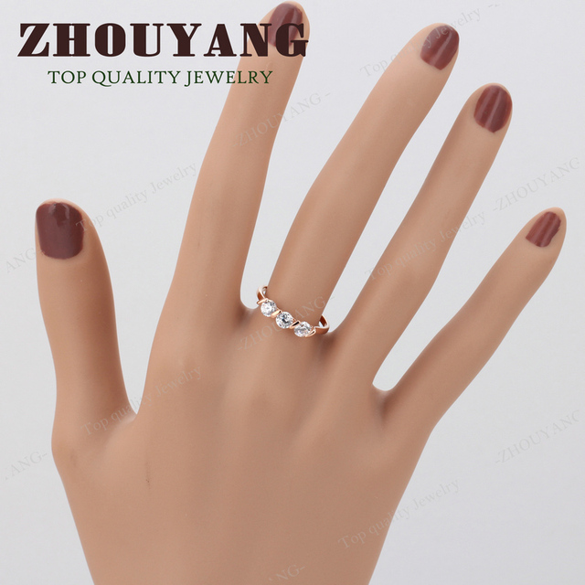 Top Quality Concise Crystal Ring Rose Gold Color Austrian Crystals Full Sizes Wholesale R067 R068 5