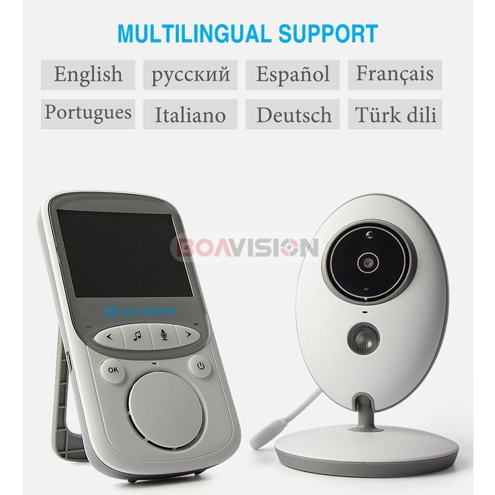 BOAVISION VB605 portátil de 2,4 pulgadas LCD Wireless Baby Monitor Video Radio cámara de niñera intercomunicador IR Bebe Cam Walkie hablar con la niñera - 6